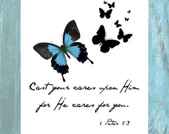 Cast all your cares scripture | home decor | wall art | digital download | gift | printable | art | butterfly