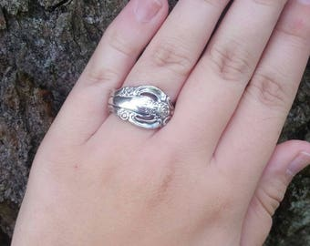 Vintage Sterling Silver Floral Spoon Ring