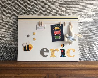 "Personalised decorative peg board - with wooden and felt animal bee icon - 18"" x 24"" - eric"