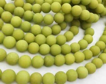 1Full Strand Matte Olive Green Jade Round Beads,8mm 10mm Wholesale Jade Gemstone For Jewelry Making