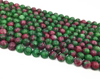 1Full Strand Ruby zoisite Round Beads , 8mm 10mm Wholesale Gemstone For Jewelry Making