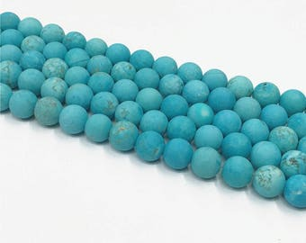 1Full Strand MatteTurquoise Round Beads , 8mm 10mm Howlite Turquoise Gemstone For Jewelry Making