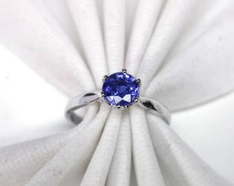Wedding ring blue sapphire ring silver sterling 925
