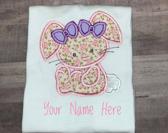 Personalized Easter Shirt, Easter Bunny Shirt, Embroidered Easter Shirt,  Personalized Girls Easter Shirt, Bunny with Bows