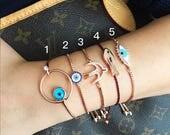 PROMO 25% SALE - Evil eye bracelet, fish bracelet , bird bracelet, adjustable bracelet, evil eye bead bracelet, rose gold bracelet, zirconia