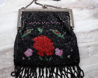 Vintage black beaded purse with strap, red rose design, Fully-beaded evening bag, gifts for her, gifts for mom, prom clutch, wedding clutch