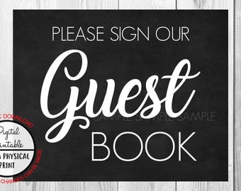 Please Sign our Guest Book Sign, Wedding Sign, Chalkboard Sign, Baby Shower Bridal Shower, Instant Download, printable Birthday Sign,