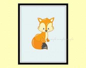 Woodland Nursery Decor, Woodland Animals Printable Wall Art, Fox, Baby Wall Art Decor, Instant Download