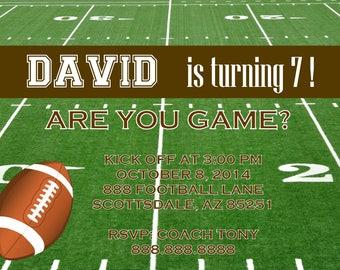 Football Invitation, Sports Party Invitation, Birthday Party Invite, Printable, Personalized Customized, Baby Shower Invitation