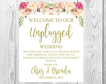 Unplugged Wedding Sign, Vintage Gold Floral Boho Sign, Flower Bohemian Wedding Sign, Printable, Customized