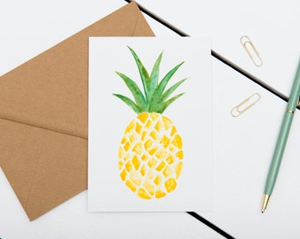 Pineapple Cards // 1 pack / 5 pack / 10 pack // A6 Charity Greetings Card // Blank Pineapple Watercolour Cards