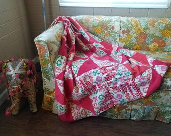 Vintage 1960s 1970s handmade funky patchwork quilt Red floral blanket