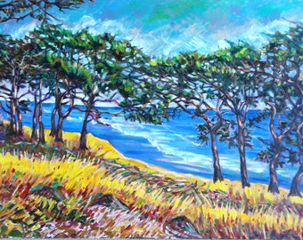 "Original Oil Painting, WestCoast View- Beautiful Trees, 39.5""x47.5"", 1803158, free shipping"