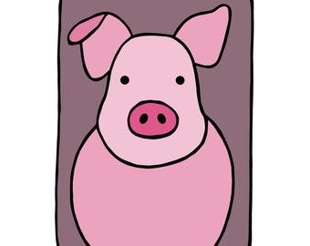 "Pig - Animal Wall Art - Nursery Children's Kids Baby Boys Girls - Bedroom Decor - Original Drawing - Printable Digital Download 8""x10"""