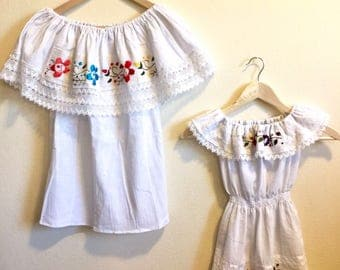 Mommy and Me Outfit Hand Embroidered Campesino Blouse & Dress White Color with colorful Flowers