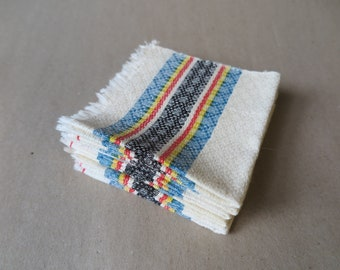 Vintage Mexican Woven Serape Colorful Striped Cloth Luncheon Napkins.  Set of Six.  Rough Cut Fabric with Fringe Border.