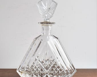 Vintage Glass Liquor Decanter/Heavy Molded Glass Decanter/Barware