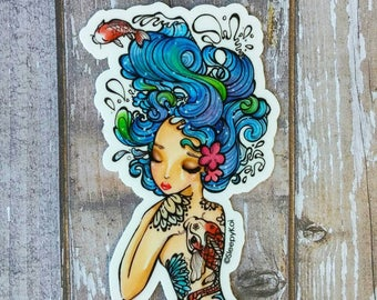 Tattoo mermaid - 3 Inch Vinyl Sticker /Decal Inspired by mermaids, tattoos and Koi fish. Planner Accessories Back to School Notebook Gift