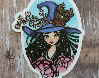 Witch and Grumpy Owl - Halloween themed 3 inch Die Cut Weatherproof Vinyl Sticker /Decal from Drawlloween /Inktober 2017