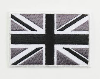 Black and White United Kingdom Flag Iron-on / Sew-on Cloth Patch Badge Appliqué goth Great Britain British Union Jack UK Seller 7cm x 4.8cm
