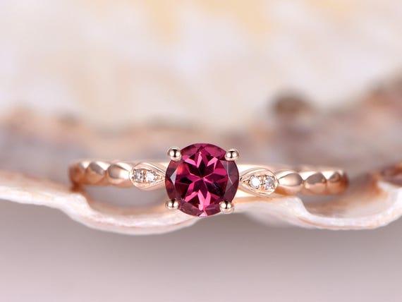 Tourmaline Ring,14k rose gold,0.62ct pink tourmaline engagement ring,clarity VS,diamond band,bridal ring,promise ring,wedding ring