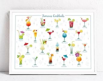Famous Cocktails. Print 30 x 40 cm.
