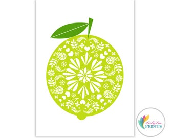 Printable Download of a Lime -  Retro Lime Design Printable - Lime Printable - Lime Download - Kitchen Fruit Print - Fruit Download