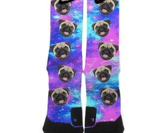 Personalized Custom Dog Puppy Galaxy Nike Elite Socks