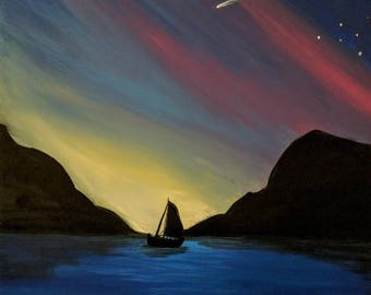 Rainbow Sky Boat Print
