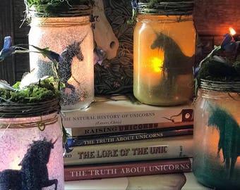 Unicorn Jar Light Lantern,Unicorn Jars,Magical Nightlight, Child's Night Light,Unicorn Night Light,Enchanting Mythical Fairy Tale Decoration