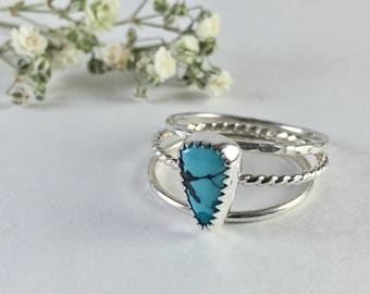 Turquoise Stacking Ring Set // Sterling Silver Ring // Natural Chinese Turquoise // Gemstone Ring