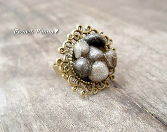 """Bronze ring adjustable """"pebbles of river Provence"""""""