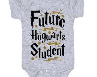 Harry Potter baby vest bodysuit 'Future Hogwarts Student'  customised size and sleeve