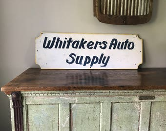"""Original Wooden """"Whitakers Auto Supply"""" Trade Sign"""