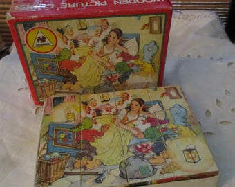 Picture Cubes Fairy Tale Stories Wooden Building Block Puzzle Game  (1970s)