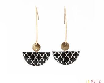 Earrings hook half moon black graphic pattern