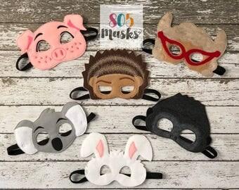 Sing Inspired Masks, Sing Musical, Sing Masks, Rosita Pig Mask, Buster Moon Koala Mask, Ash Porcupine Mask,Johnny Gorilla Mask,Sing Birthday