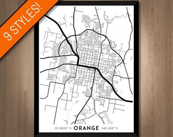 Every Road in Orange map art | Printable Orange map print, Orange print, Orange poster, Orange art, Orange wall art, NSW map, Australia map