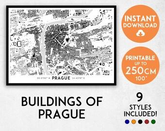 Prague map print, Prague print, Prague city map, Czechia map, Czech Republic map, Prague poster, Prague wall art, Map of Prague, Prague art