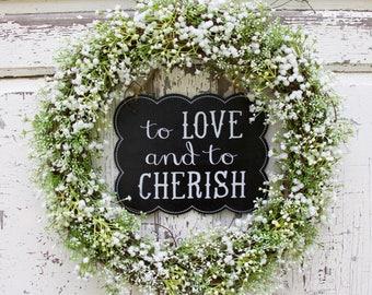 Wedding Wreath, Baby's Breath Wreath, Bridal Wreath, Bridal Shower Gift, Year Round Wreath, Natural Wreath, Front Door Wreath