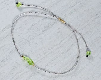 Green Peridot Minimalist Bracelet