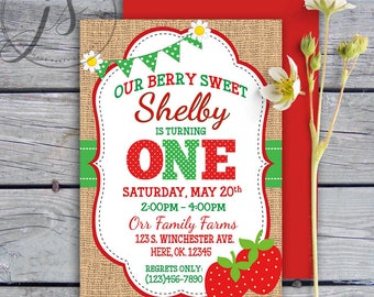 Strawberry Birthday Invitation; Printable Invitation; Berry Sweet Birthday Party; Digital File; Third Birthday; Burlap Invitation; DIY