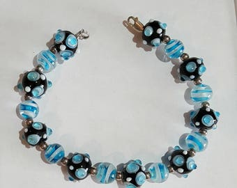 HandCrafted Bracelet With Blue Murano Glass beads