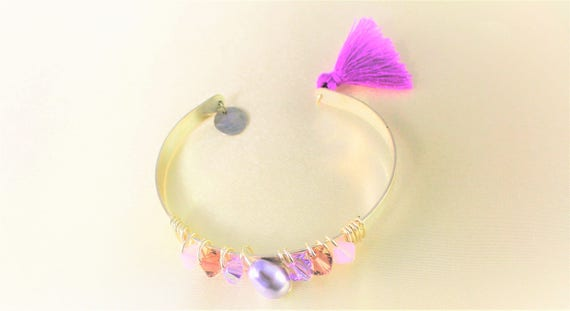 Bangle Bracelet wedding swarovski Pearl imitating the cultured pearls, swarovski crystal Tupis and tassel