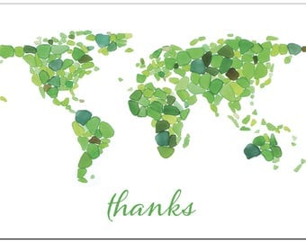 Sea Glass World Map Thank You Cards - Seaglass Art Mosaic of Continents, Blank on back - 4x6 inches/A6 size