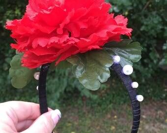 Red  Carnation Girls Headband