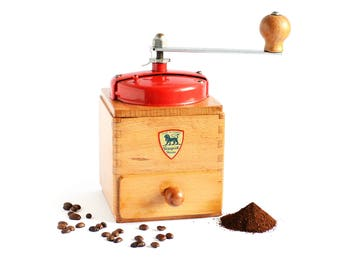 "1950 Vintage ""Peugeot"" Coffee Grinder - Model EX with Red Top"