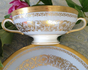 Baby Blue and Gold Cream Soup Bowl and Saucer by Minton, Double Handled, Raised Patterned Gold, Gold Filigree, Bone China, Made in England