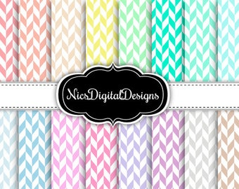 Buy 2 Get 1 Free-16 Digital Papers. Herringbone in Pastel Colours (1A no 1) for Personal Use and Small Commercial Use Scrapbooking