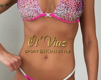 Rose Spandex Bikini Suit with Crystals/Competition Suit/Posing Suit/Rhinestone Fitness